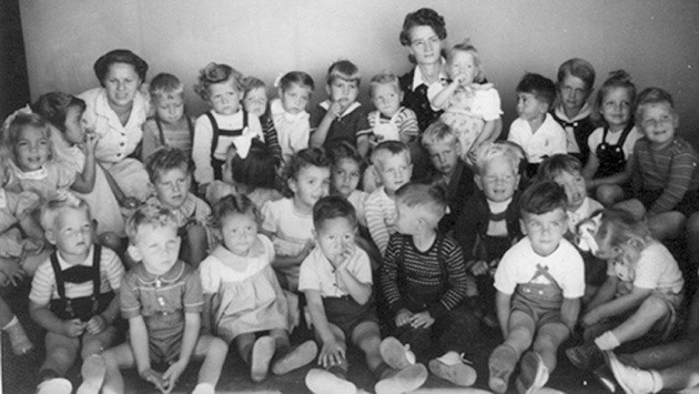 Historical photo of German American children interned at Crystal City